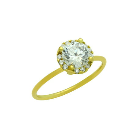 Round Clear Cubic Zirconia With Surrounding Stones Ring Gold-Tone Plated Sterling Silver Size 7