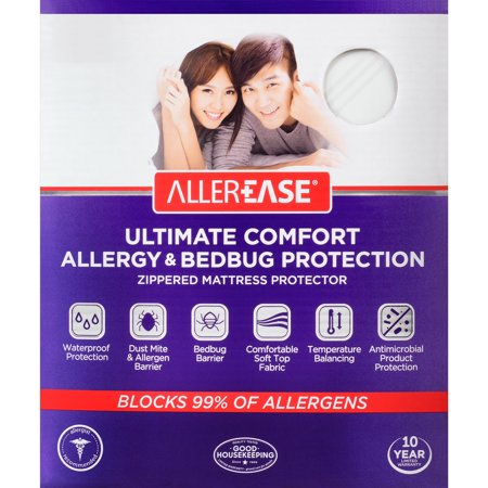 AllerEase Ultimate Comfort Allergy & Bedbug Protection Zippered Mattress Protector, Queen ()