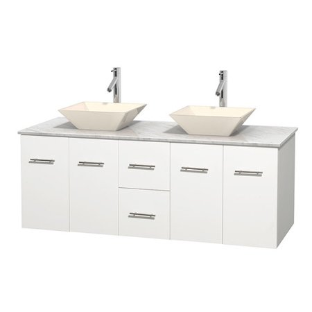 Wyndham Collection Centra 60 inch Double Bathroom Vanity in Matte White, White Carrera Marble Countertop, Pyra Bone Porcelain Sinks, and No Mirror ()