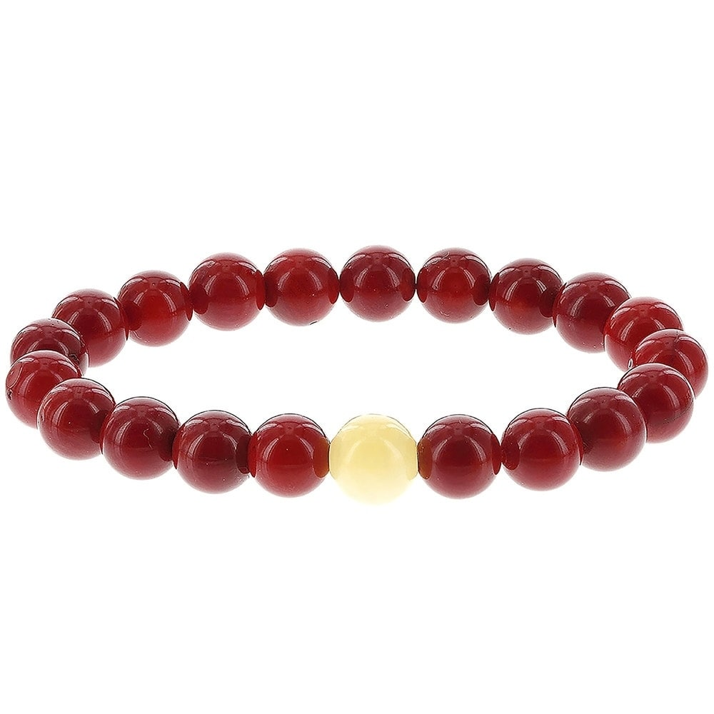 Fox and Baubles  Red Dyed Coral and Yellow Jade Men's Stretch Bracelet