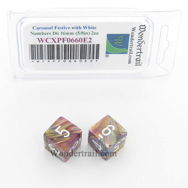 Carousel Festive Dice with White Numbers D6 Aprox 16mm (5/8in) Pack of 2 Wondertrail