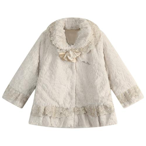 Richie House Little Girls Beige Fleece Lace Detail Coat 5