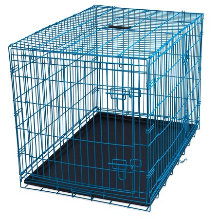 Internet's Best Wire Dog Kennel | Large (42 Inches) | Double Door Metal Steel Crates | Indoor Outdoor Pet Home | Folding and Collapsible Cage | Blue