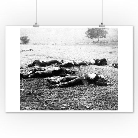 Gettsyburg, PA - Dead Union Soldiers on First Day of Battle Civil War Photograph (9x12 Art Print, Wall Decor Travel Poster)