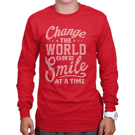 Change The World One Smile Cool Gift Cute Edgy Sarcastic Gym Long Sleeve (Top Gym Equipment Brands In The World)
