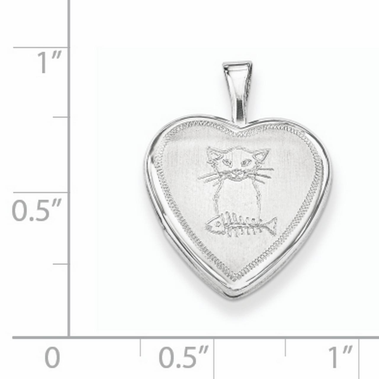Sterling Silver Rhodium-plated Cat with Fish Heart Locket QLS619 (16mm x 16mm) - image 2 de 3