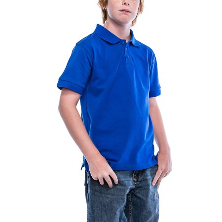d10398a7 Boys Big Boy's Short Sleeve 3 Button Plain Polo Shirts for Boys 1100-4-Royal  - Walmart.com