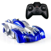 Toy Remote Control Car, Transforming Wall Climb Rc Car, Transforms 360 Rotating RC Car, Led Intelligent RC Car with LED Head, Light USB Cable for Boys Girls Age 8+,Blue