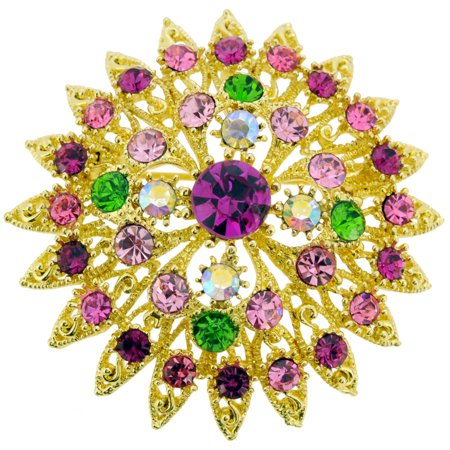 Multicolor Flower Bridal Wedding Crystal Pin Brooch and (Silver Flower Bridal Brooch)
