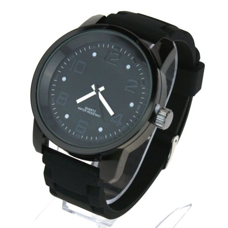 Mens Silicone Chain Link Band Mod Minimal Round Analog Wrist Watch All Black