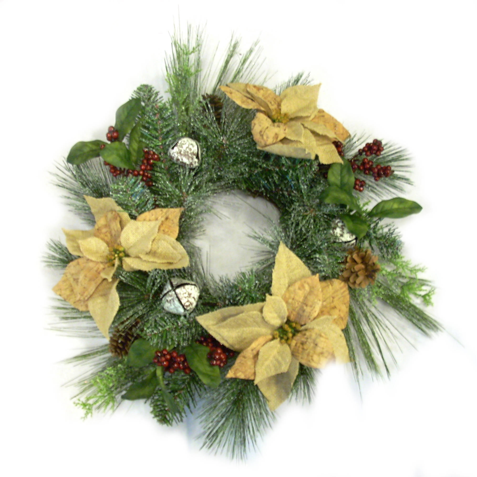 "Holiday Time Christmas Decor 20"" Burlap Poinsettia Wreath"