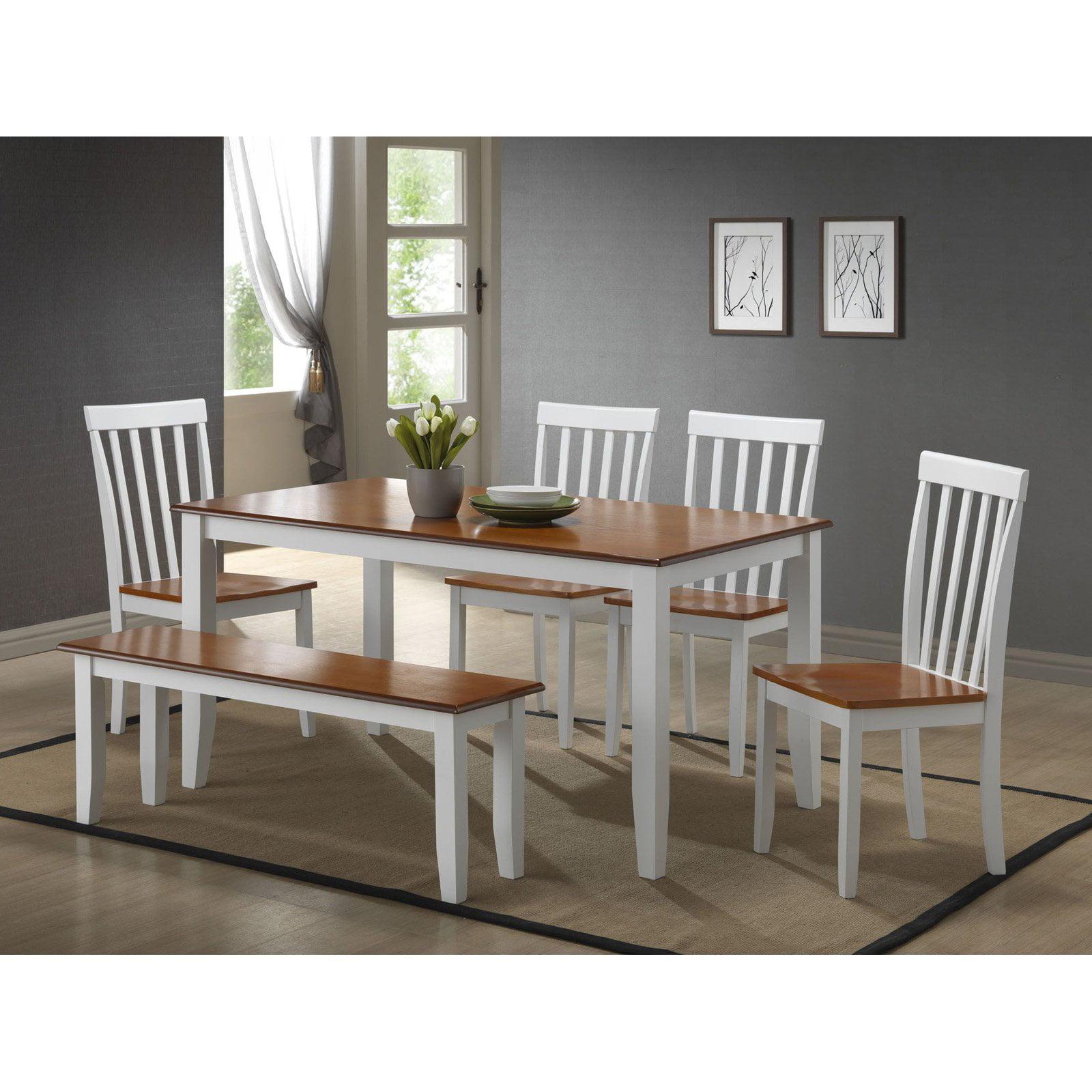 Boraam Bloomington 6 Piece Dining Room Set with Bench White & Honey Oak by Boraam Industries LLC