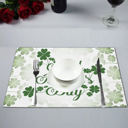 MYPOP Happy St. Patrick's Day Kitchen Table Mat Placemats for Dining Table 12x18 inches ()