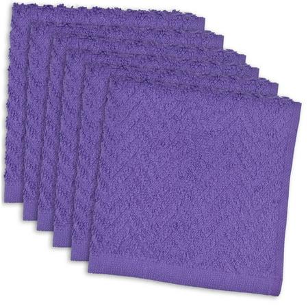 Set of 6 Purple Zigzag Pattern Rectangle Kitchen Dish Cloths 12