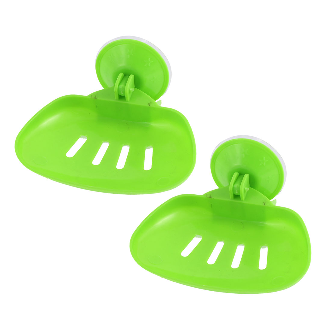 Household Bathroom Plastic Hollow Out Suction Cup Soap Holder White 2 Pcs