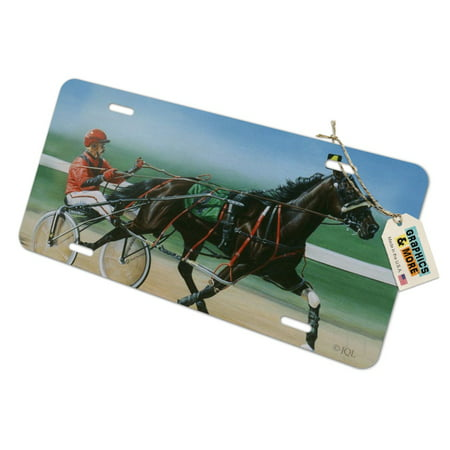 Harness Racing Horse Sulky Trotter Novelty Metal Vanity Tag License Plate -  Graphics and More