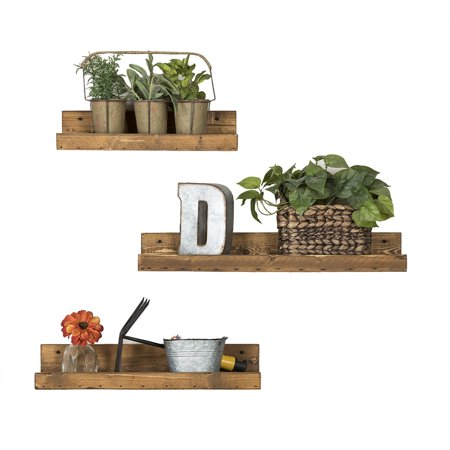 Rustic Luxe Shallow Shelves, Three-Piece Set, Dark