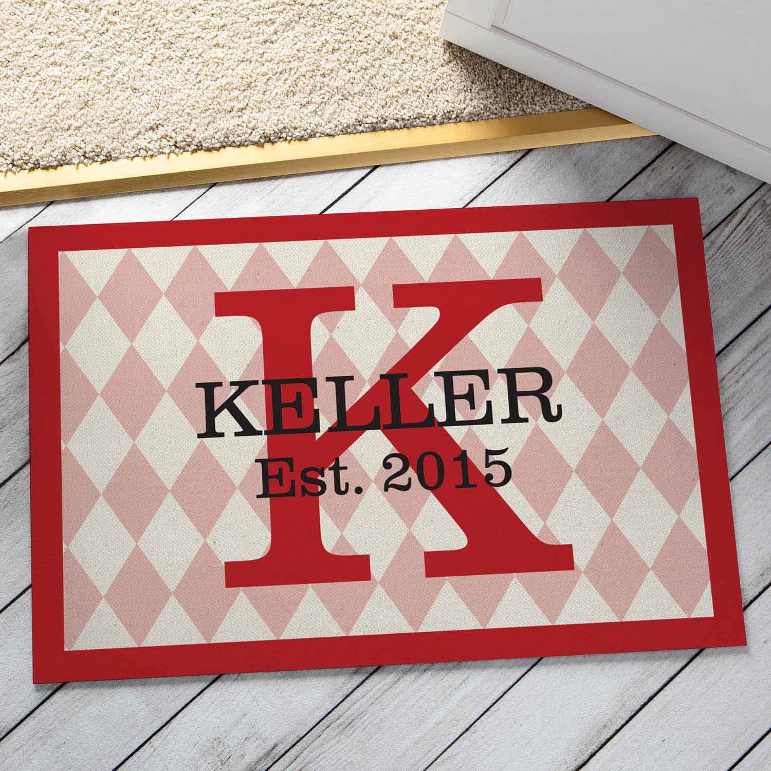 Personalized Family Pride Doormat, Red