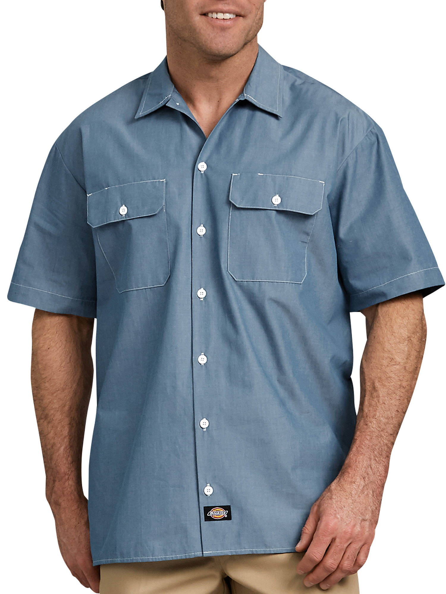 Big Men's Relaxed Fit Short Sleeve Chambray Shirt