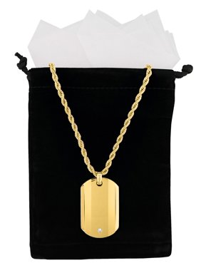 Men's Gold Tone Cubic Zirconia Dog Tag Pendant Necklace Chain