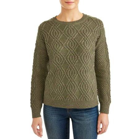 Time and Tru Time and Tru Crewneck Cable Sweater Women's