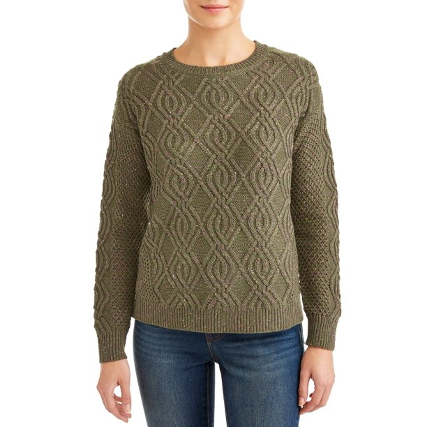 Time and Tru Crewneck Cable Sweater Women's