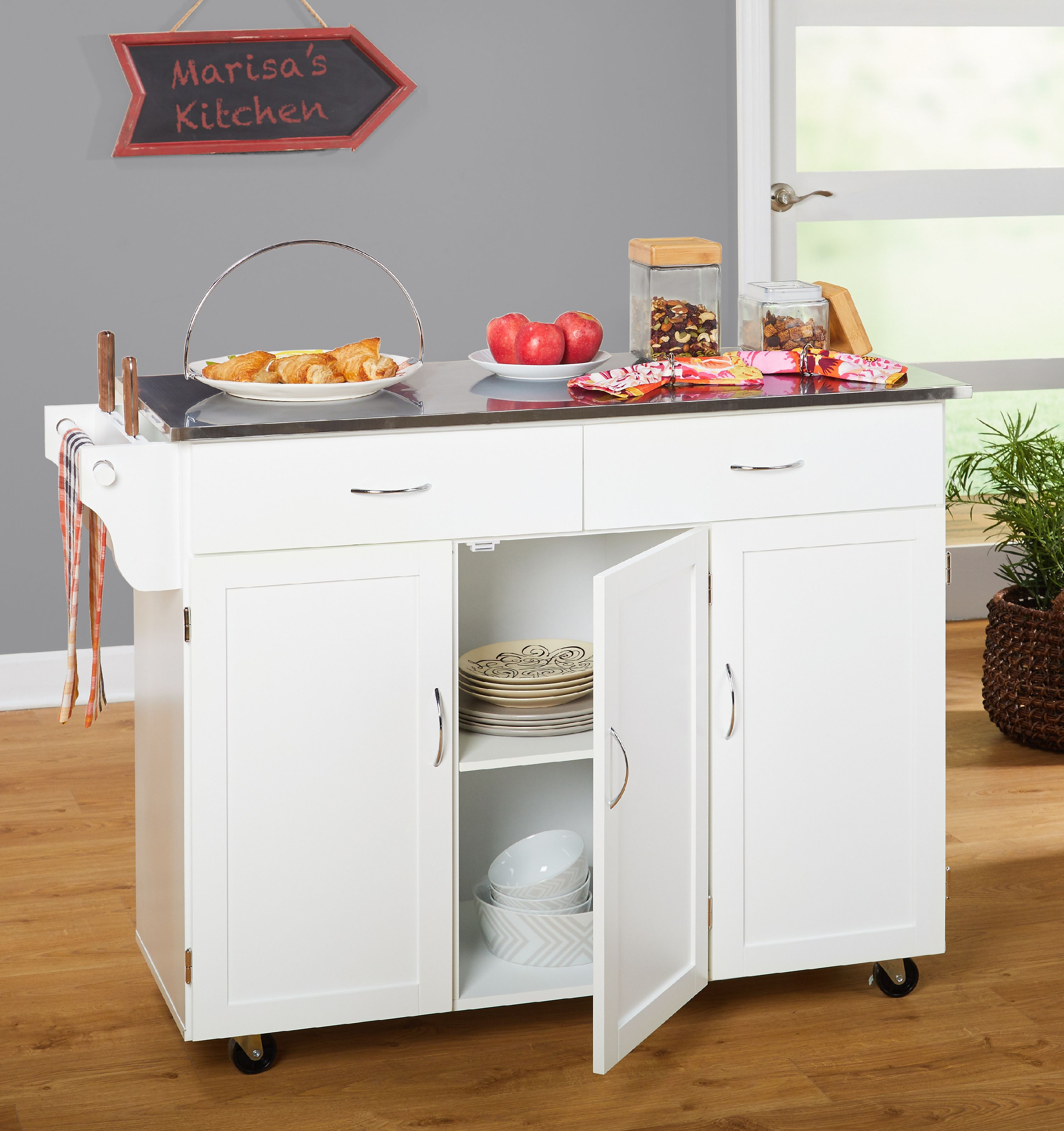 Extra Large Kitchen Cart, White with Stainless Steel Top ...