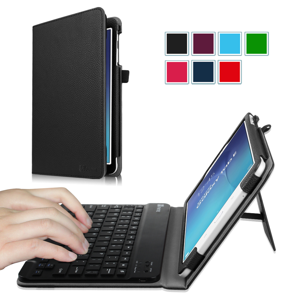 Fintie Case for Samsung Galaxy Tab E 9.6 Tablet - Smart Slim Shell Cover with Removable Bluetooth Keyboard, Black
