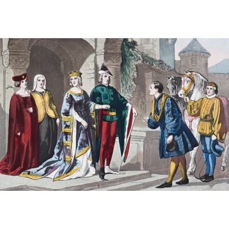 English Costumes From Second Half Of 14Th Century From The National And Domestic History Of England By William Aubrey Published London Circa 1890 Canvas Art - Ken Welsh  Design - London England Halloween