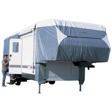 Classic Accessories OverDrive PolyPRO™ 3 Deluxe 5th Wheel Cover or Toy Hauler Cover, Fits 20' - 23' RVs - Max Weather Protection RV Cover, Grey/Snow