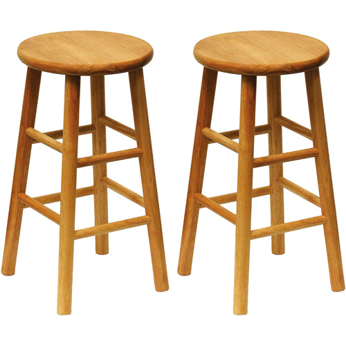 "Beech Wood Counter Stools 24"", Set of 2, Natural"