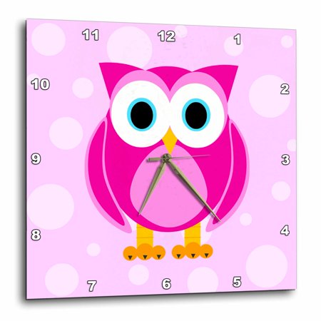3dRose Cute Pink Owl on Light Pink Background, Wall Clock, 15 by 15-inch