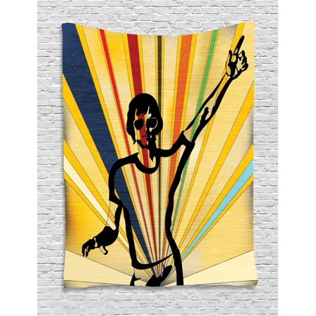 Indie Tapestry, Retro Style DJ Man on Radial Background Entertainment Nightclub Disco Party Music, Wall Hanging for Bedroom Living Room Dorm Decor, 40W X 60L Inches, Multicolor, by Ambesonne (Wall Backgrounds For Parties)