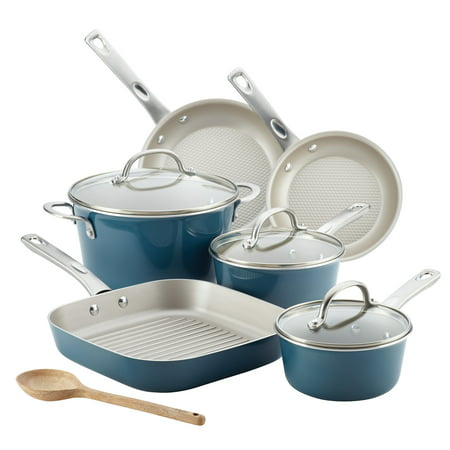 Ayesha Curry 10-Piece Porcelain Enamel Nonstick Pots and Pans Set/Cookware Set, Blue