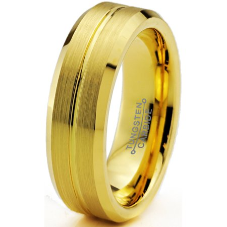 Tungsten Wedding Band Ring 6mm for Men Women Comfort Fit 18K Yellow Gold Plated Beveled Edge Brushed Polished Lifetime Guarantee - image 5 de 5
