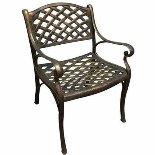 DC America Dining Chair with Mesh Design, Cast Aluminum, Bronze