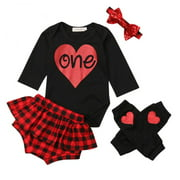 Baby Girls First Birthday Outfit Love Bodysuit Red Plaid Shorts Leg Warmers Headband 12-18M