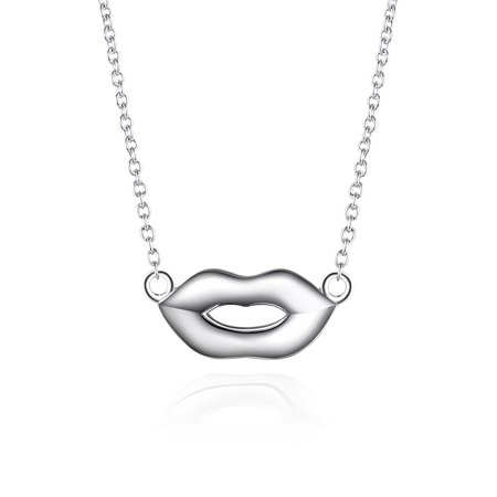 2 Extension Necklace - Sterling Silver Lip Shape Adjustable Chain Necklace, 17'' + 2'' Extension