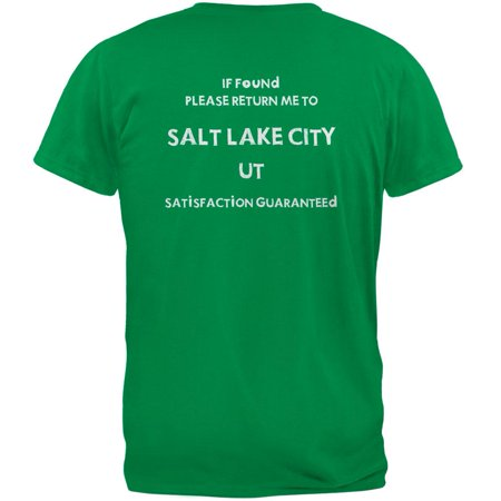 St Patricks Day Return Me to Salt Lake City Irish Green Adult T-Shirt