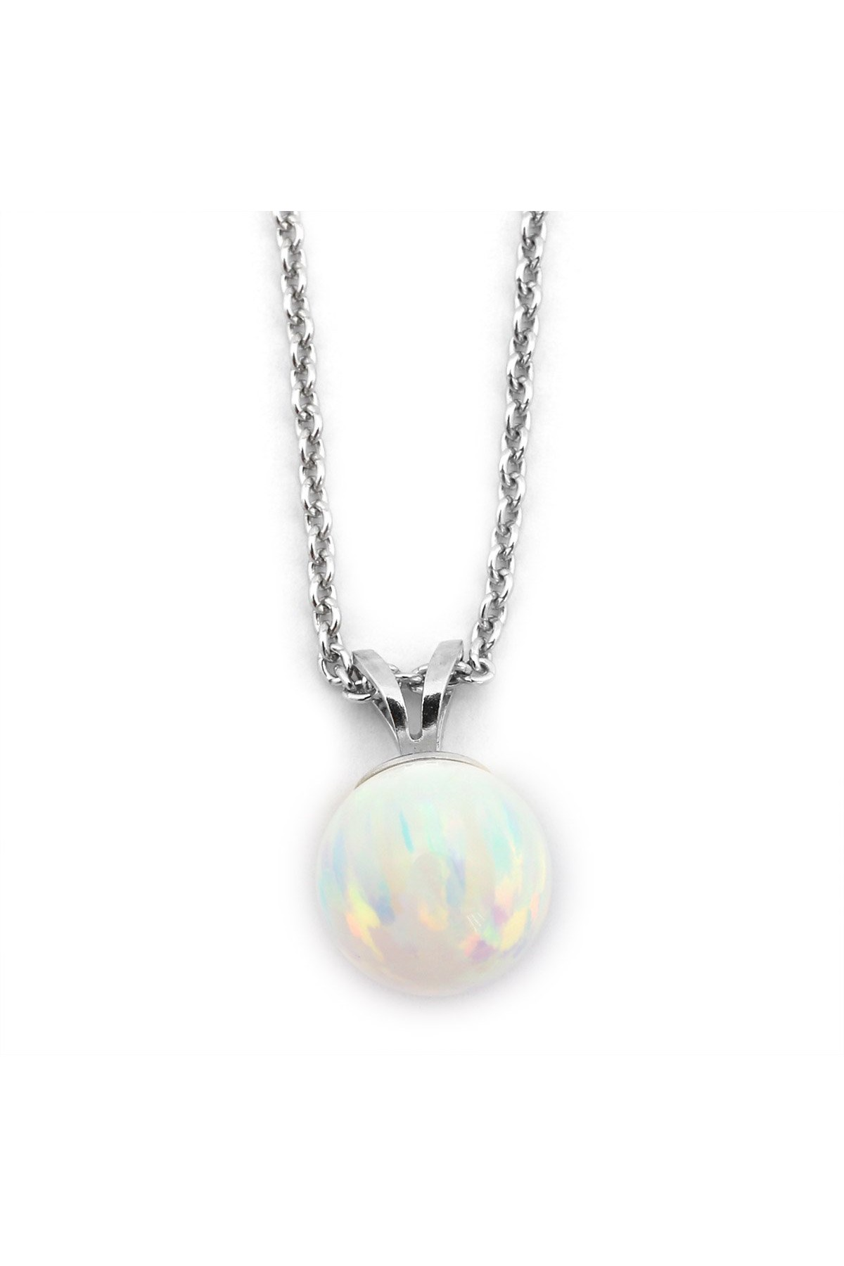 Solid Sterling Silver Rhodium Plated 6 Millimeter Purple Simulated Opal Pendant Necklace