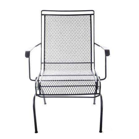 Arlington House Black Wrought Iron Outdoor Chair Patio Furniture For Backyard Porch And Garden
