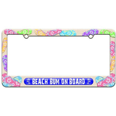 Beach Bum On Board Blue, Island Palm Trees License Plate Tag Frame ...