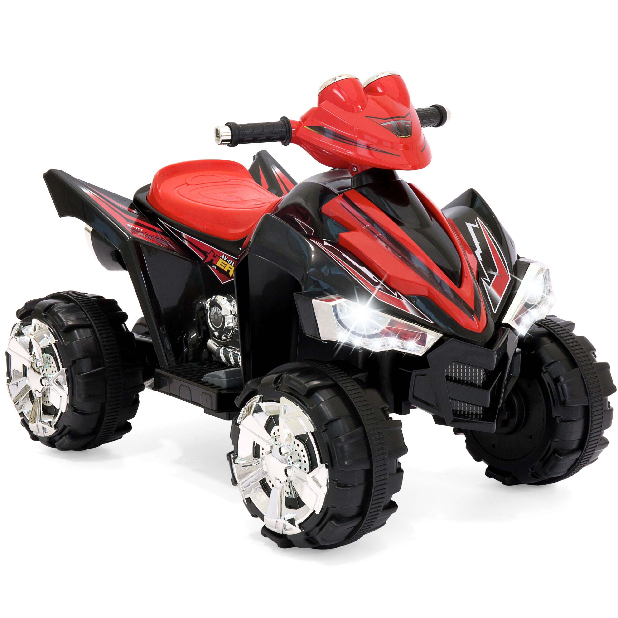 Best Choice Products Kids Ride On ATV Quad 4 Wheeler 12V Battery Power Electric Power Led Lights (Red)