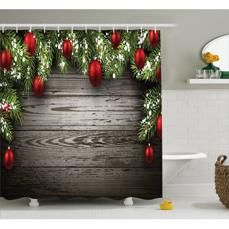 Christmas Shower Curtain Ornaments Nostalgic Historical Celebration And Reunion Religious Themed Print Fabric Bathroom