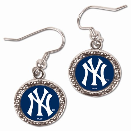 - New York Yankees WinCraft Women's Round Dangle Earrings - Silver - No Size