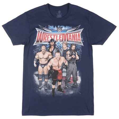 WrestleMania Short Sleeve T-Shirt Retro Wrestling Tee Graphic Top WWE Mens Navy