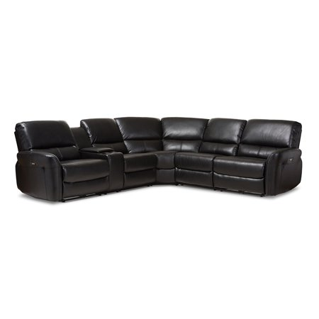 Amaris Modern Contemporary Black Bonded Leather Power