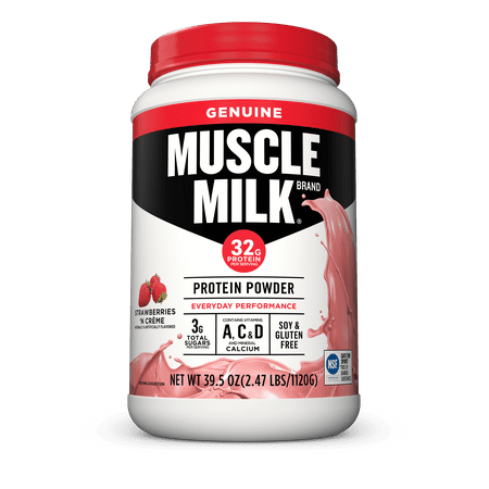 Muscle Milk Lean Muscle Protein Powder, Strawberries & Cream, 32g Protein, 2.47 (Best Whey Protein For Lean Muscle)