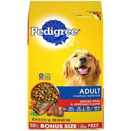 PEDIGREE Complete Nutrition Adult Dry Dog Food Grilled Steak & Vegetable Flavor, 50 lb. (Best Food To Feed Your Dog)