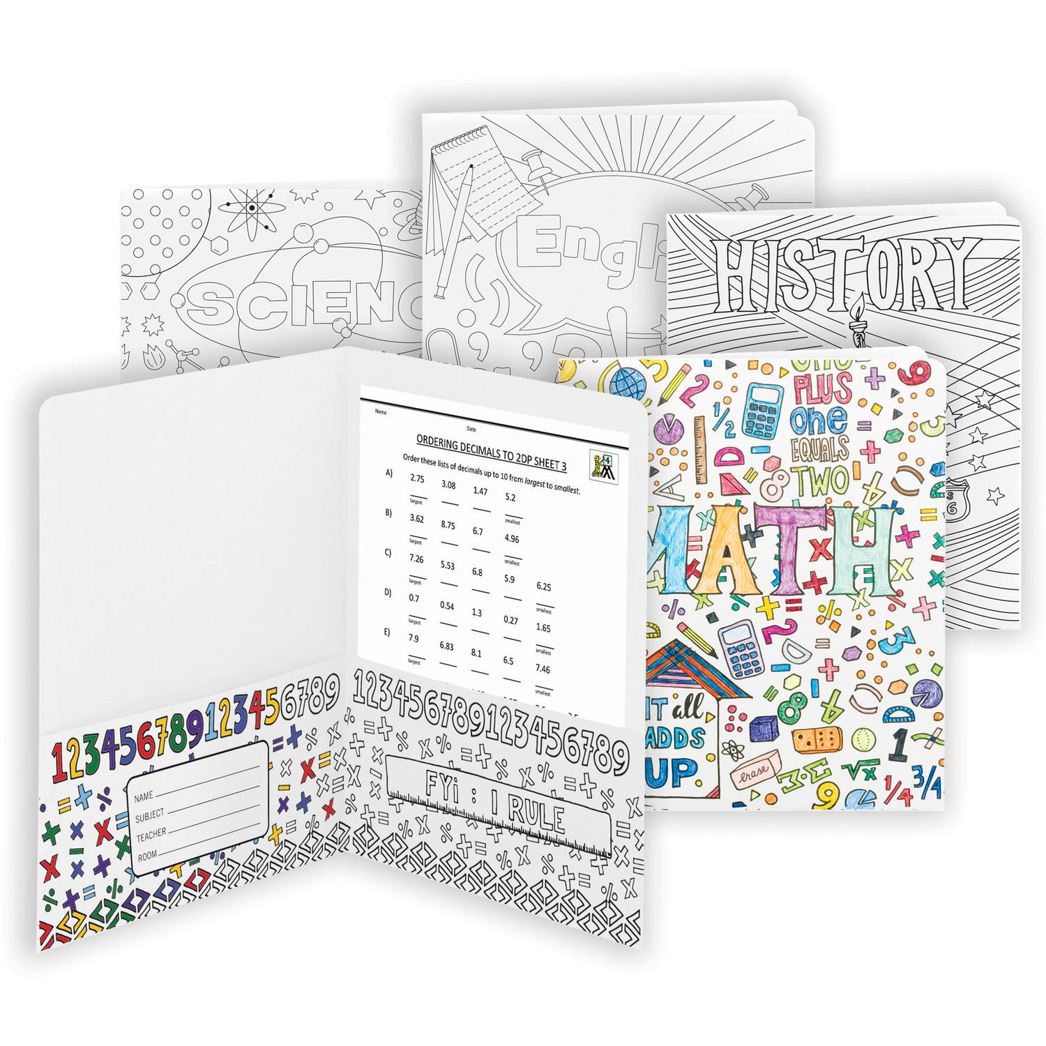 Smead Coloring two-Pocket Folder, School Subjects, Letter Size, 4 per pack (87910)